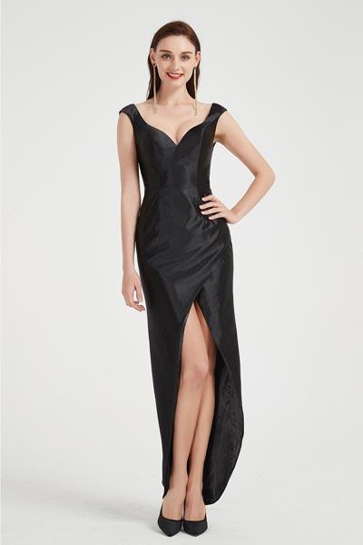 eDressit Black V-Cut Straps High Slit Party Evening Dress (00201700)