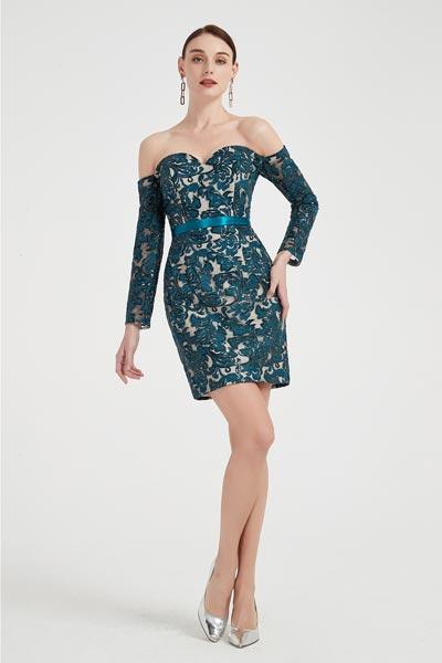 eDressit Blue Off Shoulder Long Sleeves Lace Fashion Dress (03200205)
