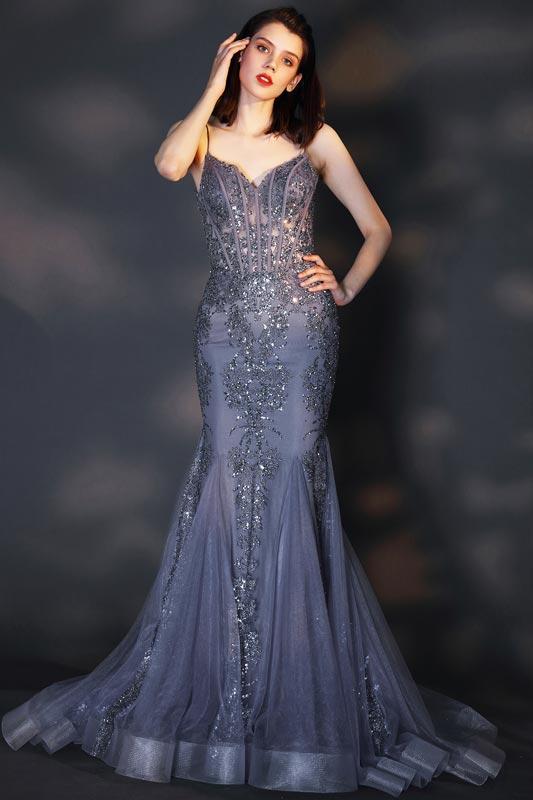 eDressit Sexy V-Cut Spaghetti Beaded Mermaid Party Evening Dress (02205205)