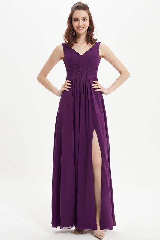 eDressit Purple V-Cut High Slit Chiffon Wedding Bridesmaid Dress (07215406)