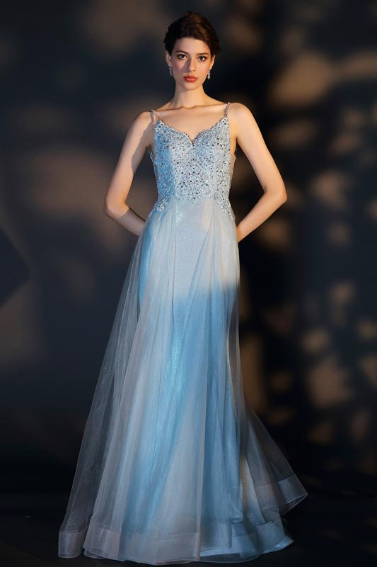 eDressit Blue Spaghetti Straps Embroidery Tulle Party Dress (00207105)