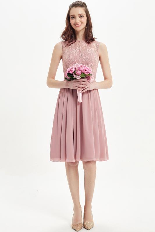 eDressit Dusty Rose Lace High Neck Cocktail Dress (07217601)