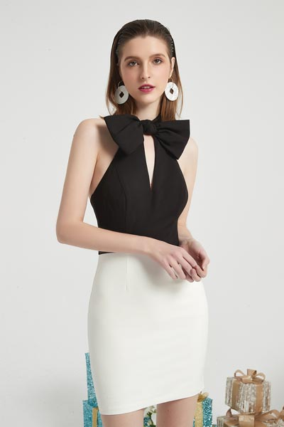 eDressit New Halter White&Black Fashion Fit Party Casual Day Dress (03200100)