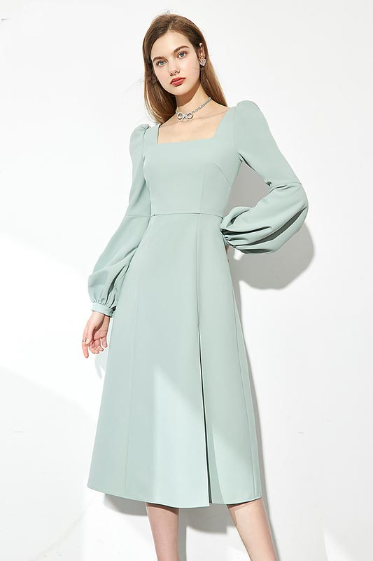 Women's Prom Dresses Long Sleeves Simple Evening Gowns Maxi Dress (T360004)