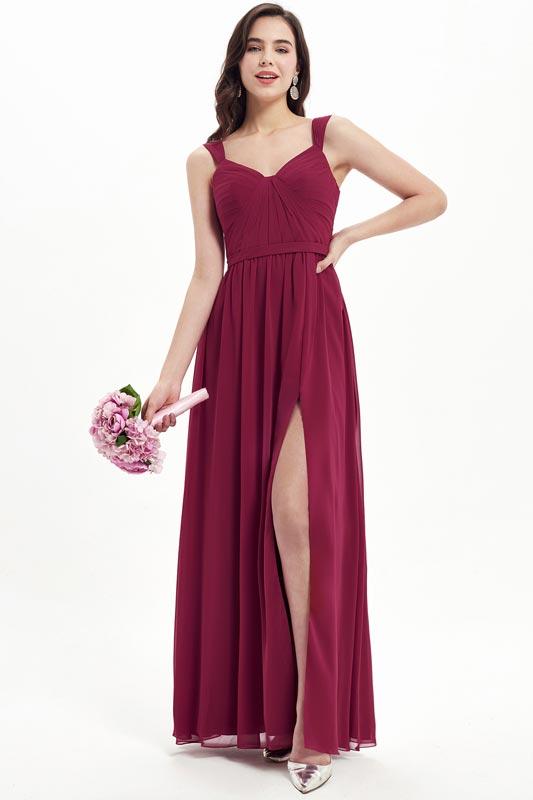 eDressit Burgundy V-Cut Straps High Slit Bridesmaid Dress (07213517)