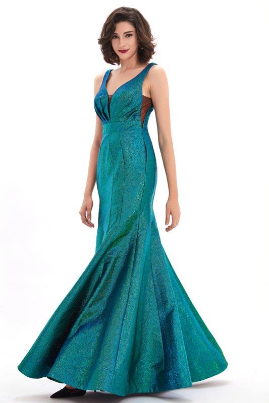eDressit Blue Shiny V-Cut Mermaid Prom Party Dress (02211205)