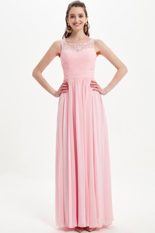 eDressit Pink Illusion Lace Neckline Long Elegant Bridesmaid Dresss (07218901)