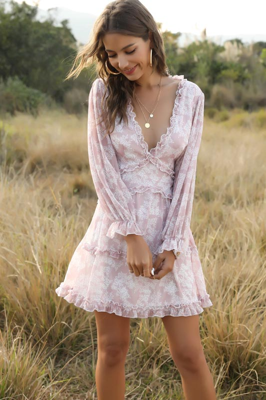Women's Floral Print V Neck Baggy Sleeve Summer Holiday Mini Dress (T061037)