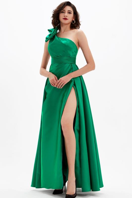 eDressit Green One Shoulder High Slit Long Party Prom Dress (00210304)