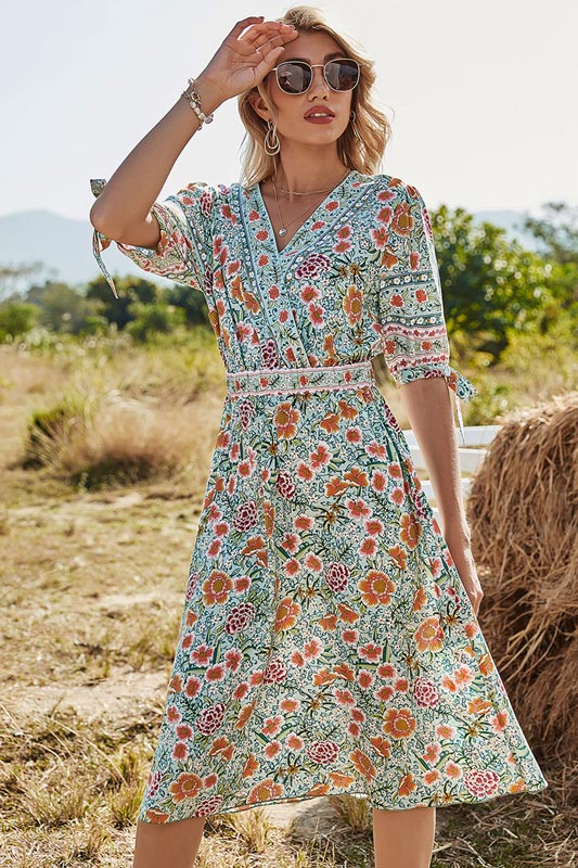 Women Midi Dress Half Sleeves Floral Print Summer Holiday Dresses