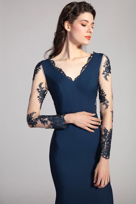 eDressit NEW Blue V-Cut Sleeves High Slit Party Dress (26201505)