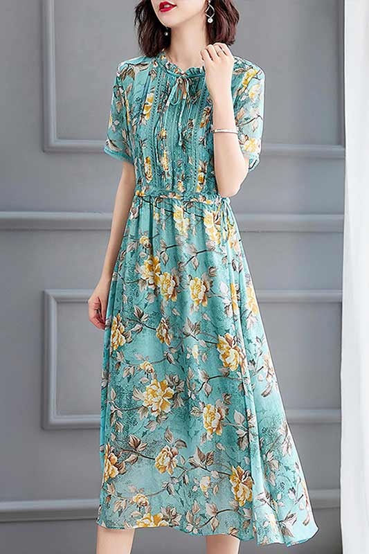 Women's Green Floral Printed Chiffon Holiday Party Maxi Dress (T061011)