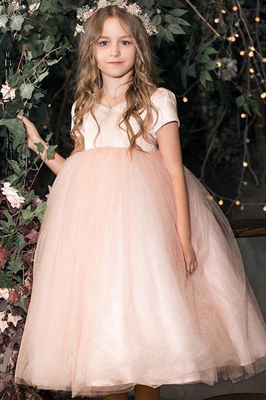 New Short Sleeves A-line Tulle Flower Girl Dress (T27010)