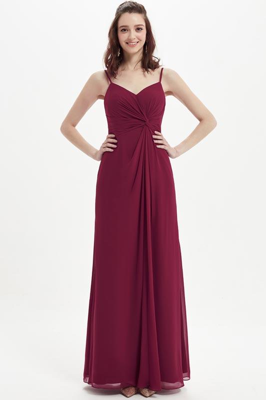 eDressit Burgundy Spaghetti Straps Long Bridesmaid Dress (07213417)