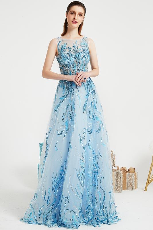 Blue Shiny Sequins Elegant Party Long Evening Dress-eDressit (00202605)