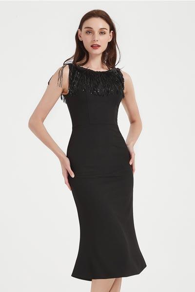 eDressit Sexy Black Round Tassel Neck Fit Fashion Party Dress (03200400)