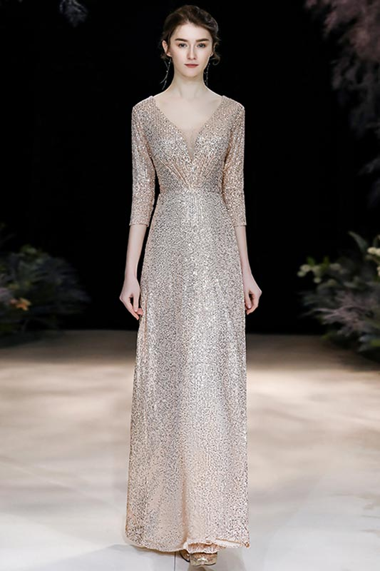 All Over Sparkly Sequin With Sleeve Long Evening Gown (T360124)