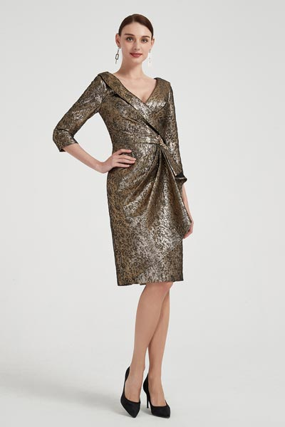 eDressit Dark Gold V-Cut Shiny Mother of Bride Dress (26200924)