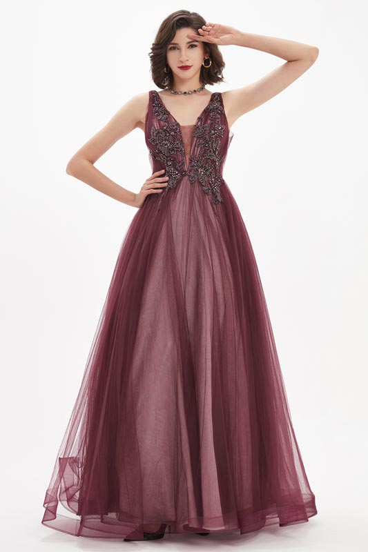 eDressit Burgundy Sexy V-Cut Straps Lace Tulle Party Evening Gown (00211117)