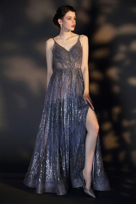 eDressit Shiny V-Cut Spaghetti Straps Beads Party Prom Gown (02206656)