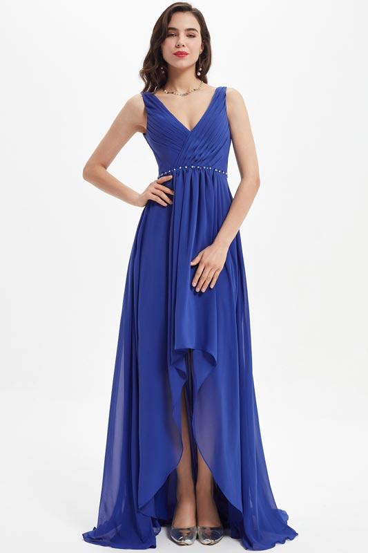 eDressit Blue V Cut  Beads Waistline Wedding Bridesmaid Dress (07212205)