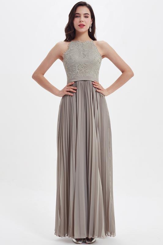 eDressit Grey Lace Pleated Bodice Elegant Bridesmaid Ball Dress (07213108)