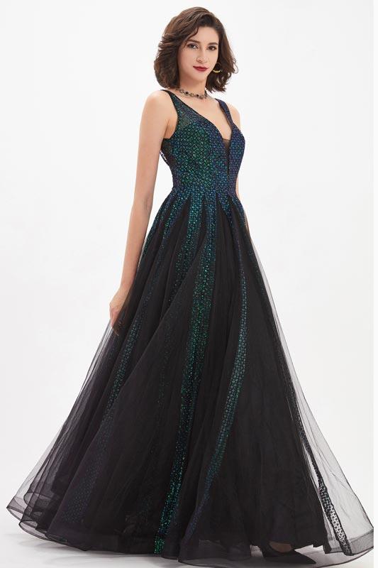 eDressit Shiny Green&Black V-cut Gorgeous Women Party Gown (02210700)