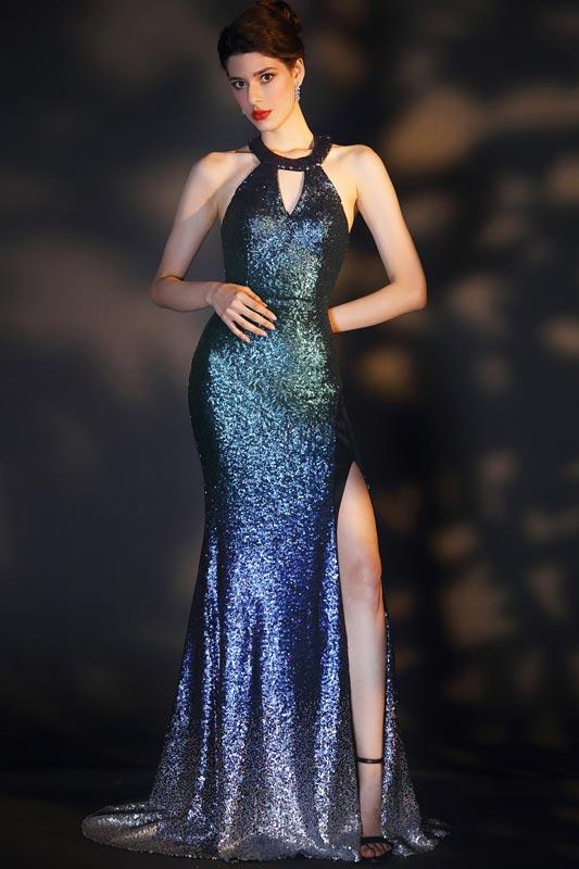 eDressit Halter Gradient Sequins High Slit Party Dress (02204956)