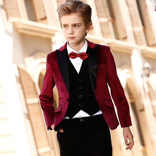 Boys Burgundy Suit 5 Pieces Solid Classic Fit Suits (T16017)