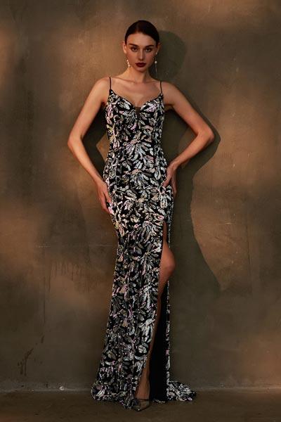 eDressit Sexy Spaghetti V-Cut Shiny Beaded Prom Party Dress (00203668)