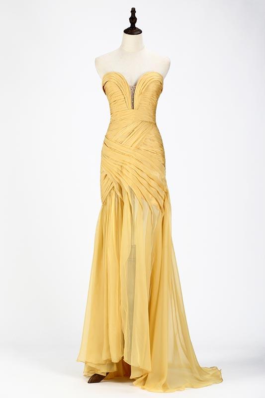 eDressit SexyYellow Chiffon Ruched Corset Evening Dress (00120503)
