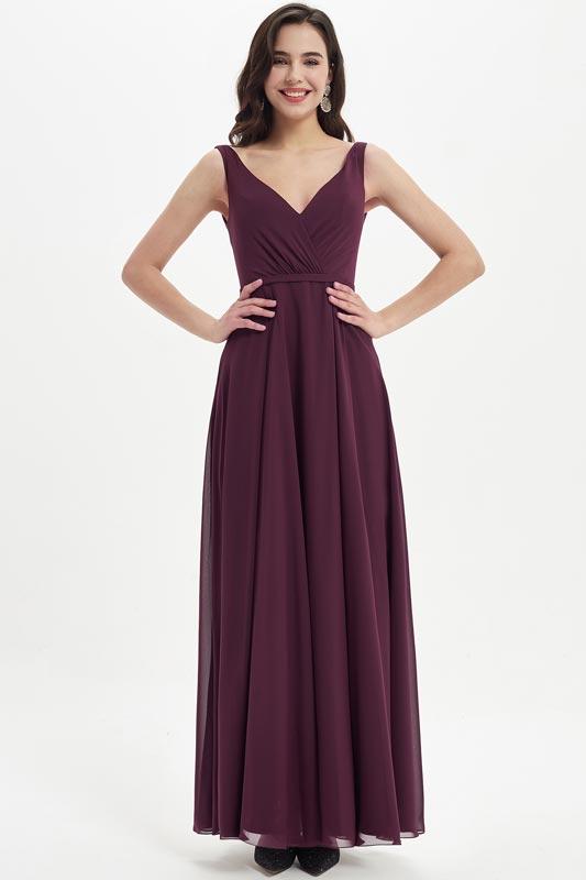 eDressit Burgundy V-Neck Straps Long Bridesmaid Dress (07214417)
