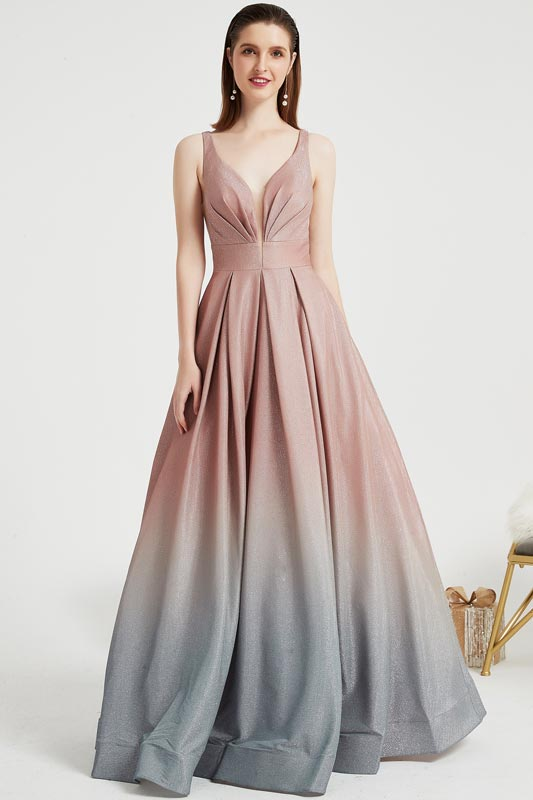 eDressit Straps V-Cut Gradient Pleated BodiceParty Prom Gown(02203156)