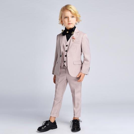 Boys Suit 1 Button Plaid Multi Check 4 Piece Suit (T16004)