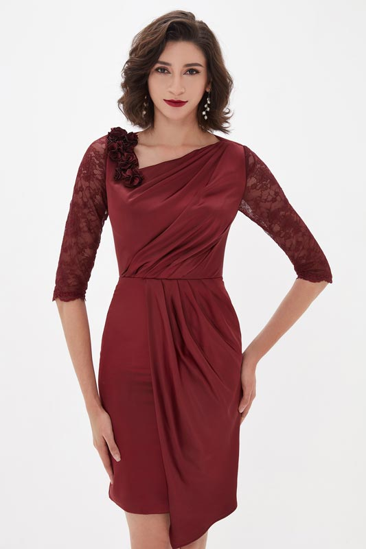 eDressit Burgundy Lace Sleeves Mother of the Bride Dress (26211117)