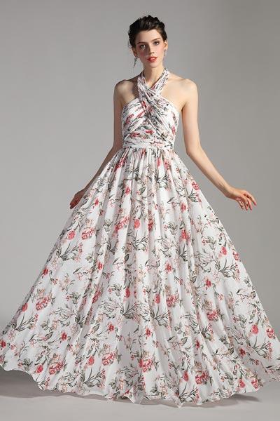 eDressit Halter Neck Printed Open Back Party Summer Dress (00205268)