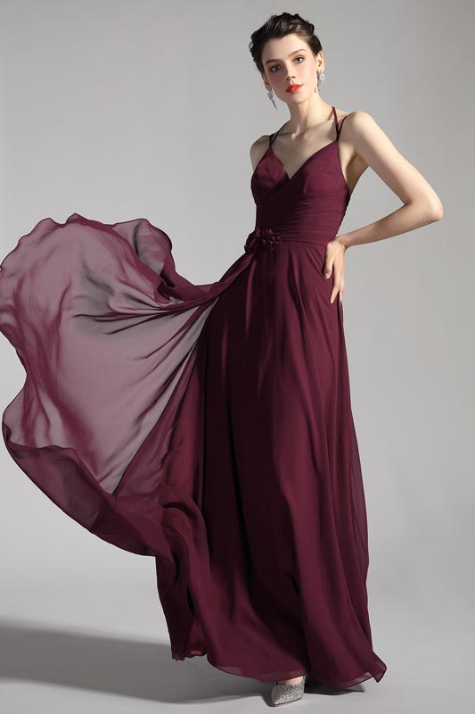 eDressit Burgundy Halter V-Cut Elegant Chiffon Bridesmaid Dress (07200817)