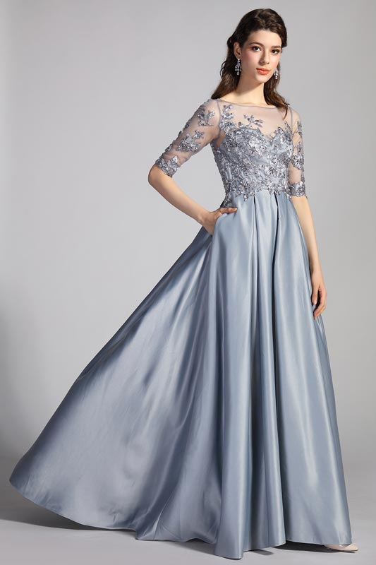 eDressit Illusion Neck Half Sleeves Lace Formal Party Dress (02204208)