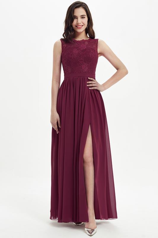 eDressit Burgundy Lace Appliques Chiffon Bridesmaid Dress (07213917)