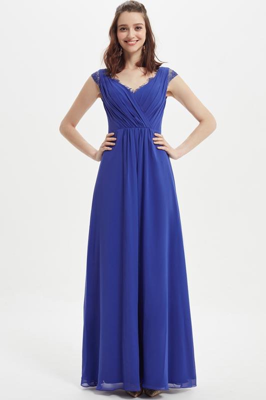 eDressit Blue V-Neckline Lace Cap Sleeves Bridesmaid Dress (07217205)