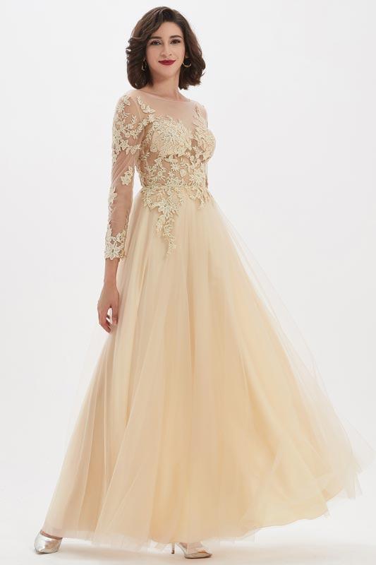 eDressit Beige illusion Neckline Lace Appliques Prom Gown Dress (26210414)