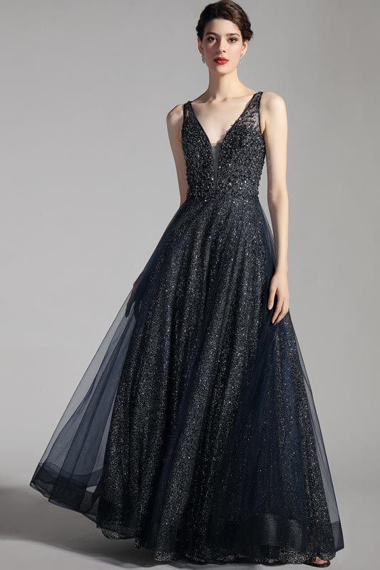 eDressit NEW Navy Blue Straps Shiny Beads Party Prom Gown (00205705)