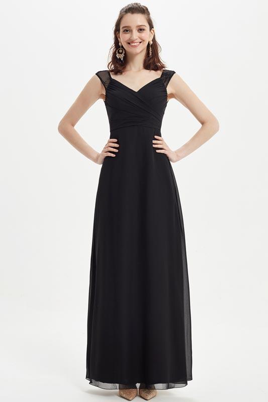 eDressit Black Lack Straps V-Cut Wedding Bridesmaid Dress (07218400)
