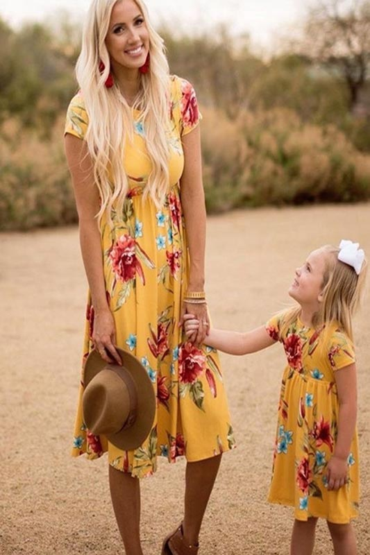 New Mommy and Me Boho Yellow Floral Summer Holiday Dress (T401503)