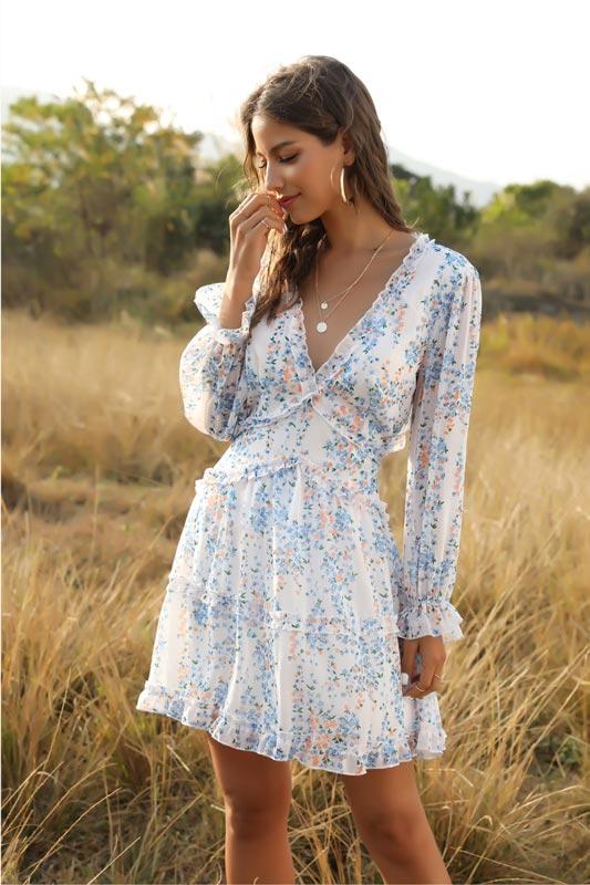 Women Comfort Mini Dress Short Floral Summer Dresses (T061037)