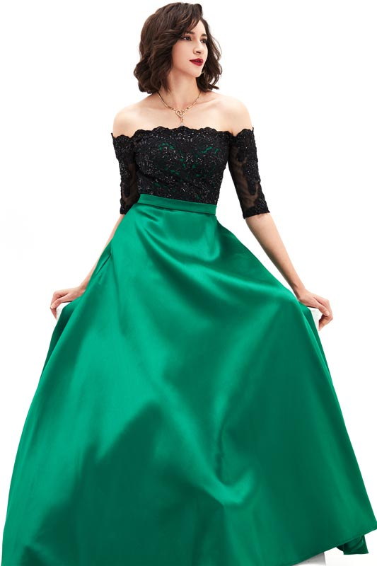 eDressit Green short Sleeves Lace&Mikado Long Prom Gown (02210304)
