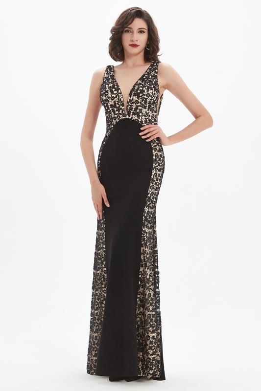 eDressit Elegant V-Cut Black and Lace Occasion Party Dress (00211600)