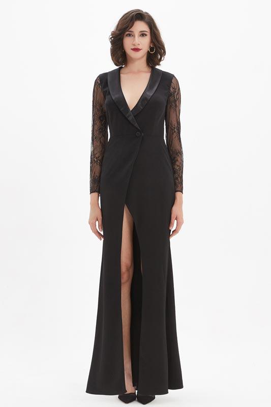 eDressit Black Fashion Lace V-Cut High Slit Long Party Coat/Dress (03210100)