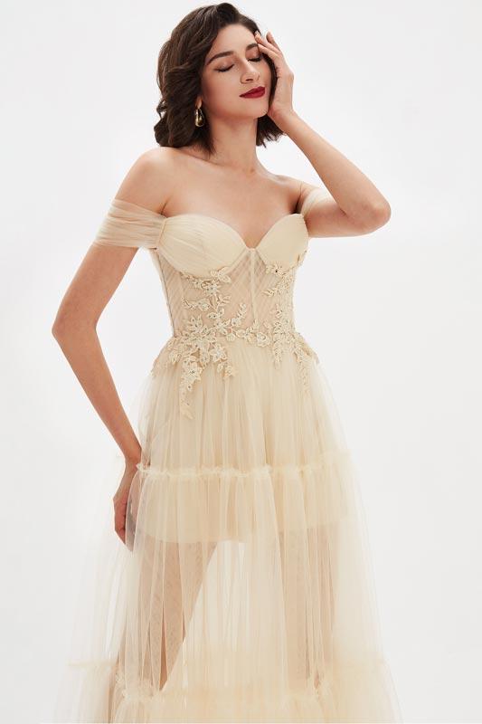 eDressit Beige OFF Shoulder Lace Tulle Long Evening Party Dress (02210114)