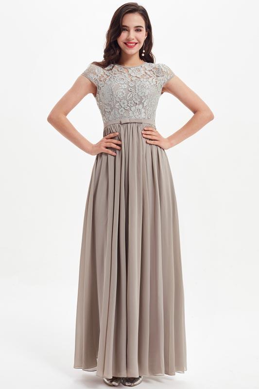 eDressit Grey Cap Sleeves Lace Appliques Bridesmaid Dress (07212308)